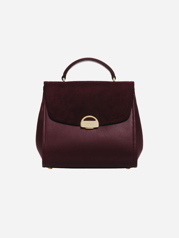 Paname Oxymore AppleSkin Vegan Leather & Microsuede Handbag | Bordeaux