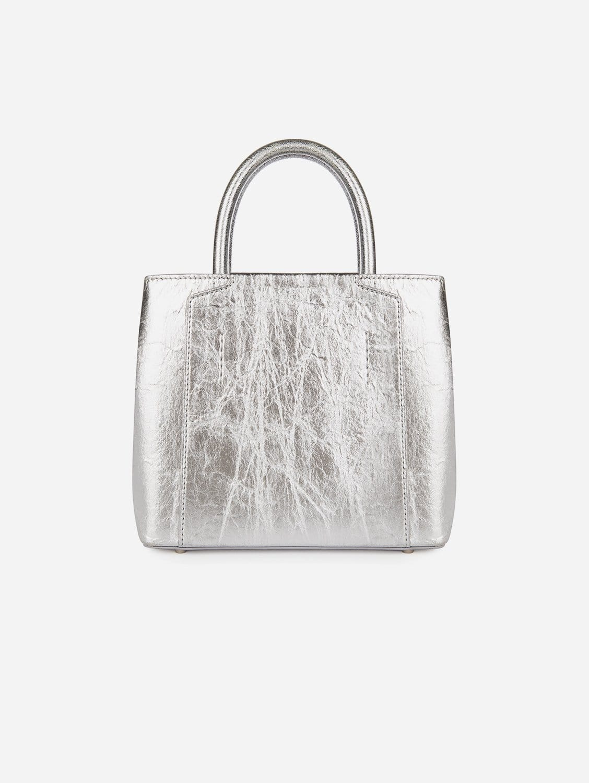 Nina Recycled Nylon Vegan Leather Mini Handbag   Silver