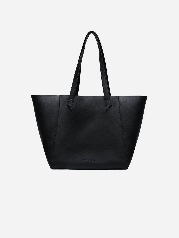 Totissimo Foldable Vegan Leather Tote Bag   Black