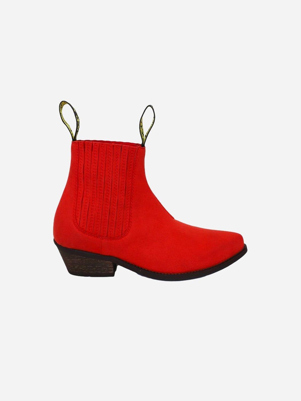 Duke Vegan Suede Cowboy Boots | Red