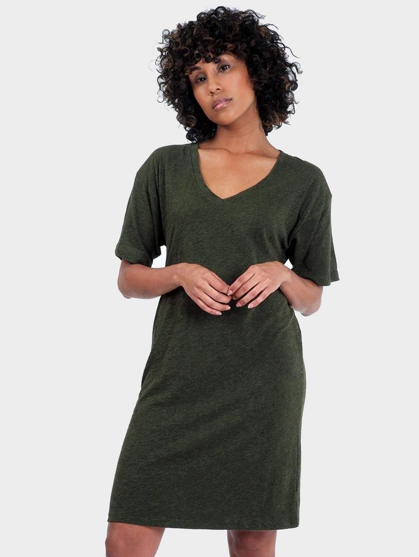 Mika Organic Cotton & Bamboo Rayon T-Shirt Dress | Heather Forest