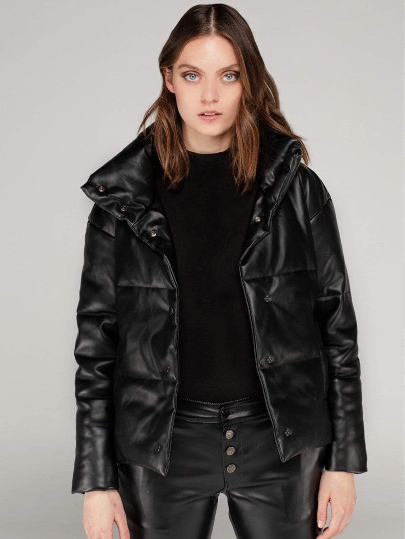 High Neck Vegan Leather Puffer Jacket | Black
