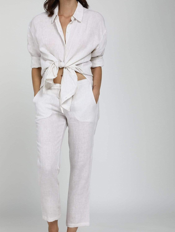Organic Linen Cropped Peg Leg Trousers   Multiple Colours