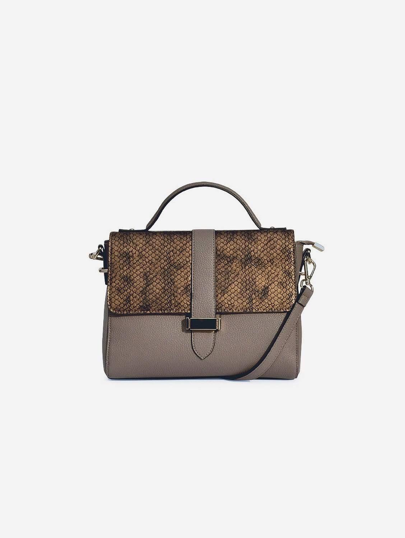 Lila Textured Vegan Leather Bag | Concrete Grey
