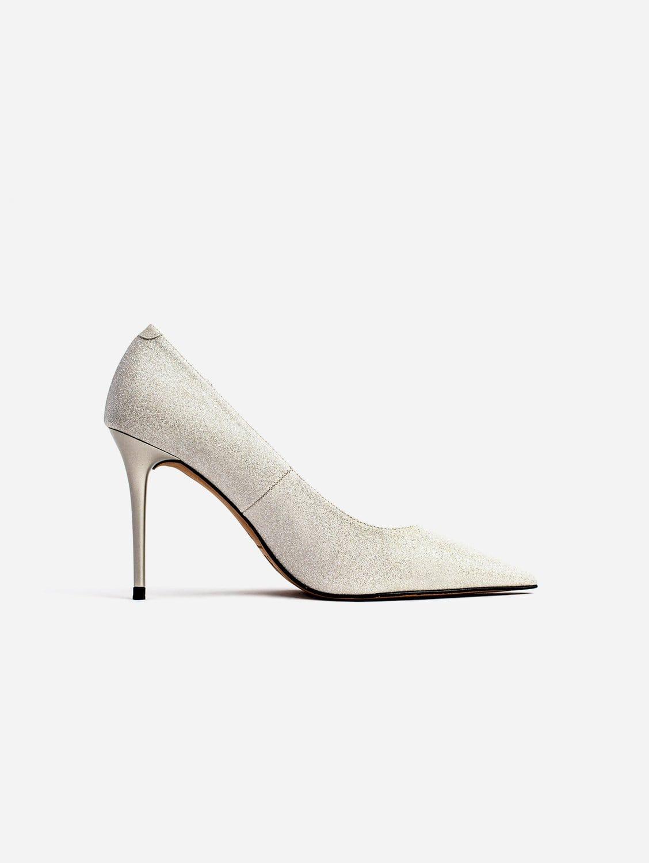 Scarlett Glittery Vegan Leather Stiletto Court Shoe   Silver