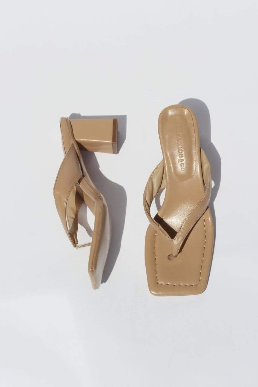 Collection & Co Philo Up-Cycled Vegan Leather Square Toe Heeled Sandal | Tan