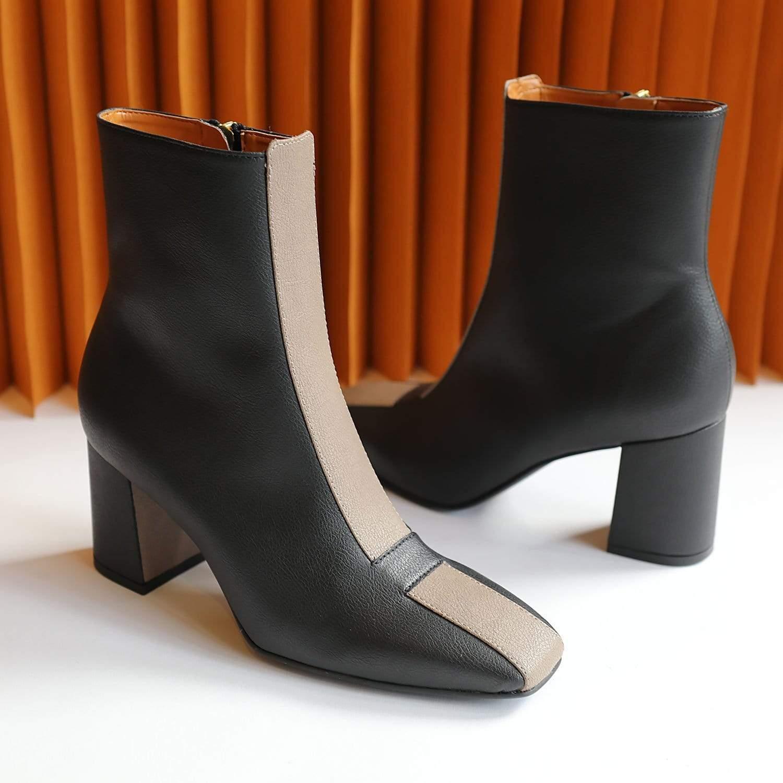Sylven New York Jayne Apple Leather Vegan Boot   Black & Taupe