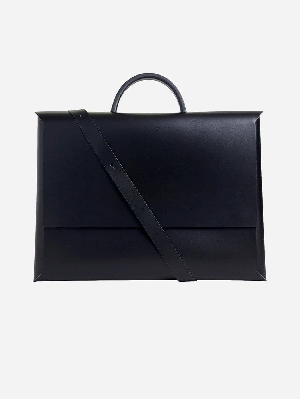 Origami Recycled Vegan Leather Portfolio Bag   Black