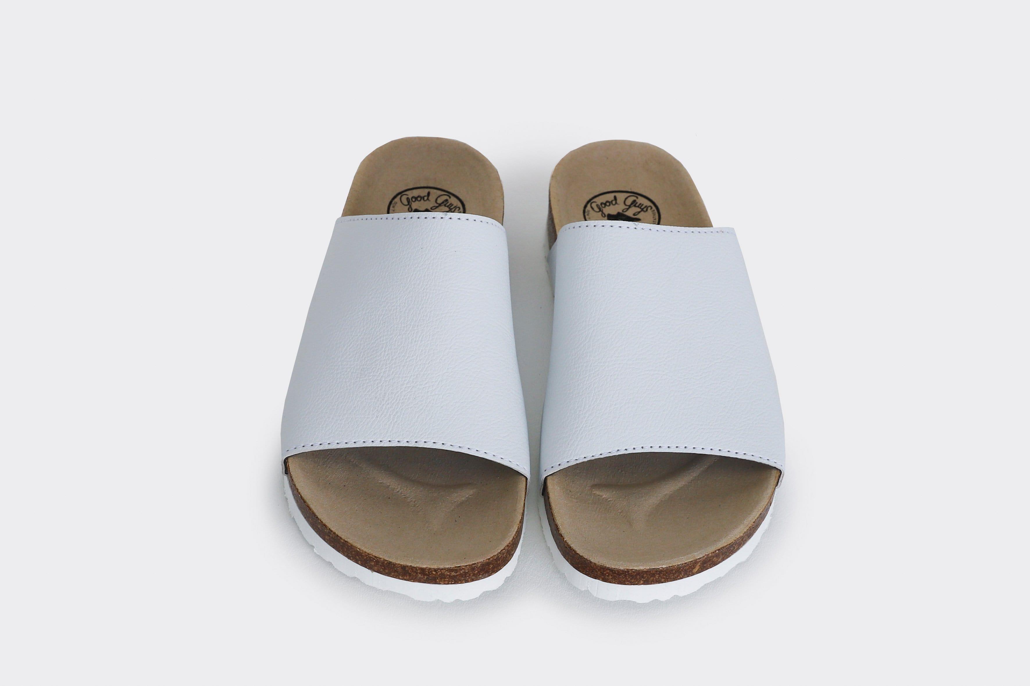 Good Guys Don't Wear Leather Jenny Apple Leather Vegan Slide-On Sandal | White