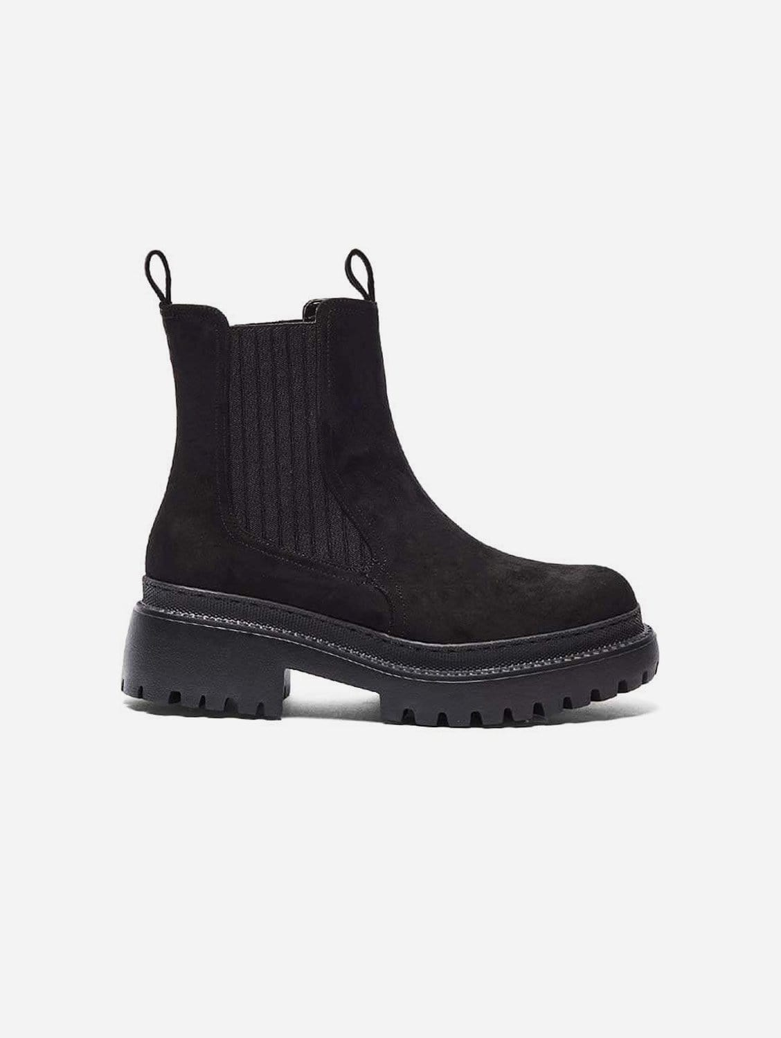 Linda Recycled Polyester Vegan Suede Winter Boots   Black