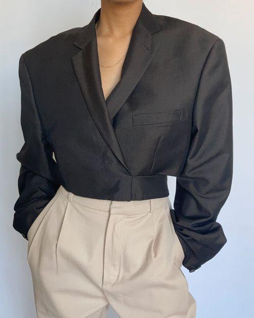 Shiny Brown Reworked Wrap Blazer