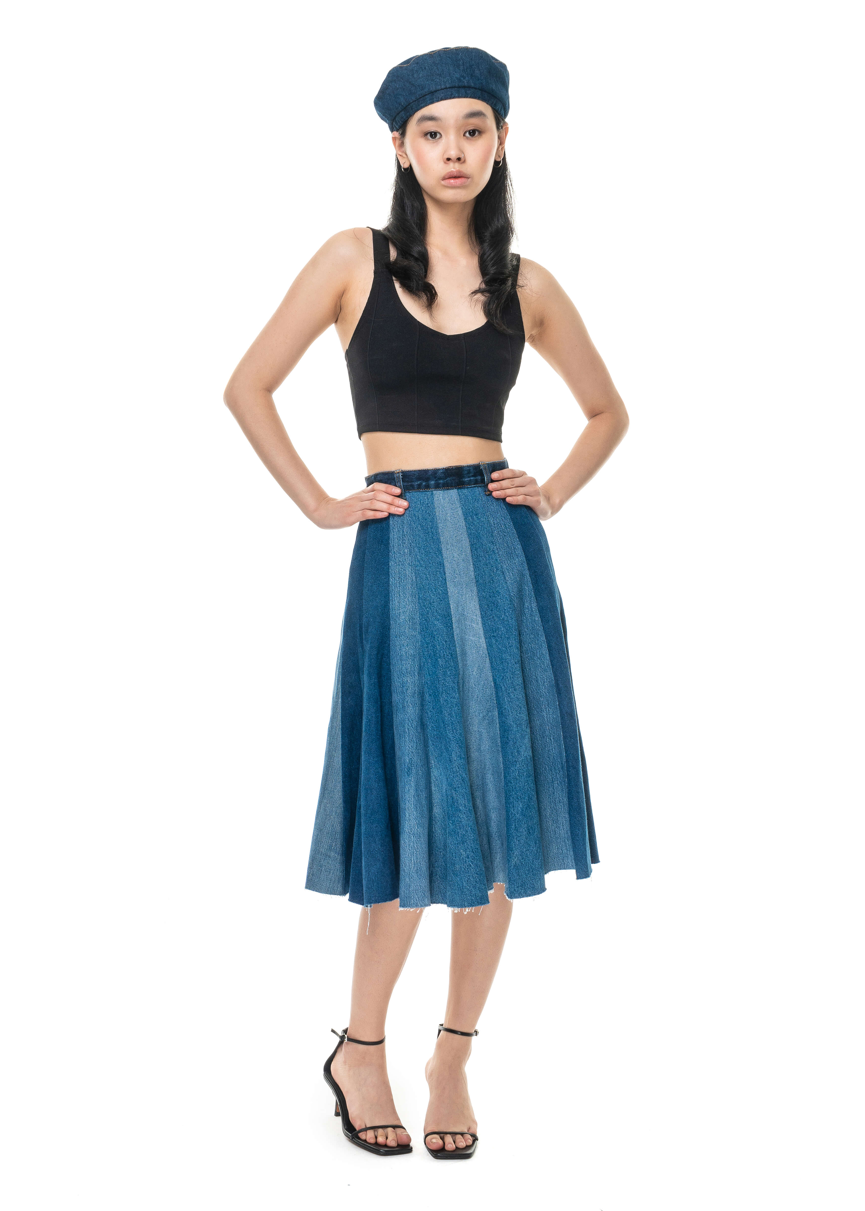 Stripped Patchwork Denim Midi Skirt