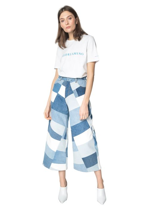 Blue Wide Patchwork Pants