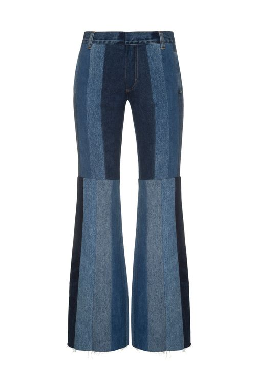 Reworked Striped Flared Jeans