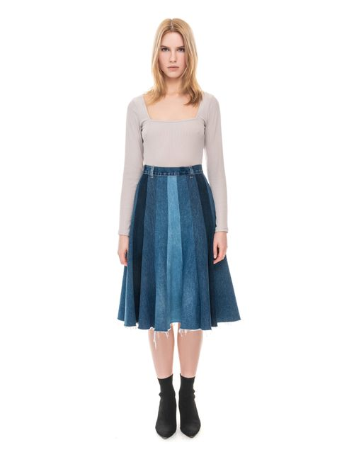 Stripped Patchwork Denim Midi Skirt