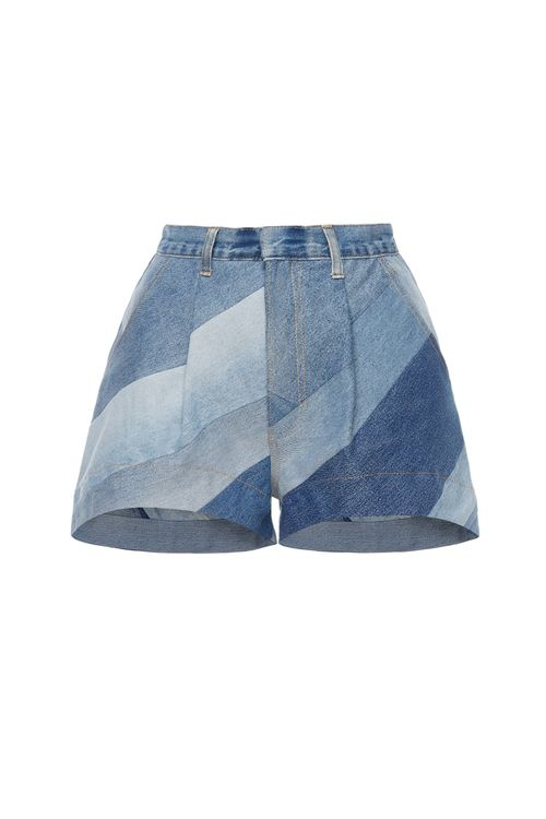 Reworked Diagonal Patchwork Shorts