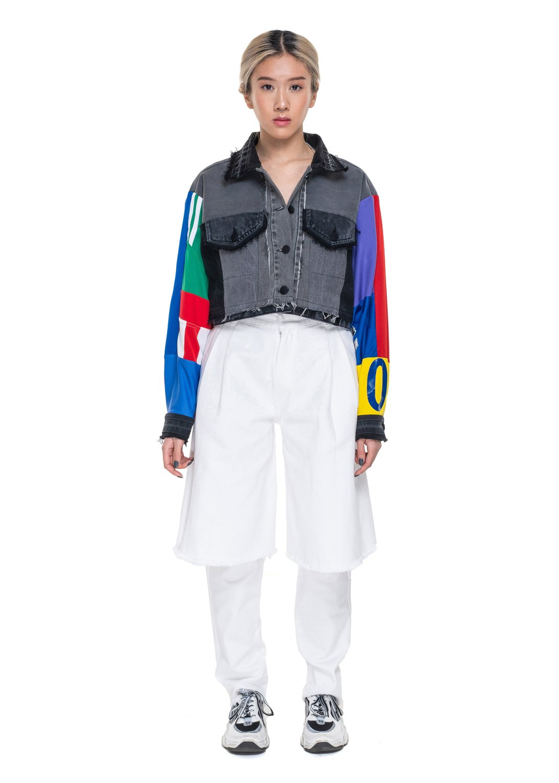 Reworked Denim Jacket With Sport Sleeves