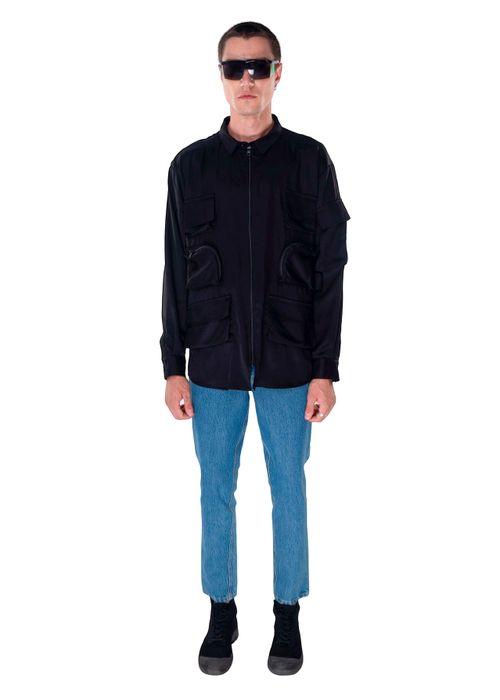 Black Cotton Multi Pocket Shirt