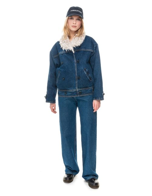 Hemp Fur Denim Winter Jacket with Liner
