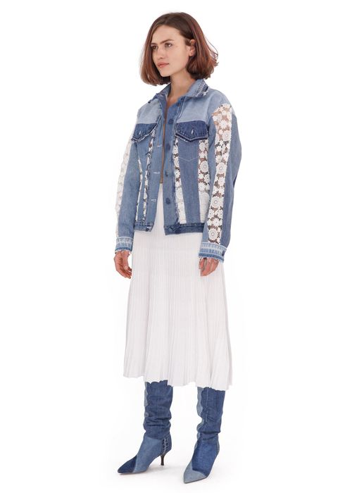 Reworked Jacket with Flower Lace