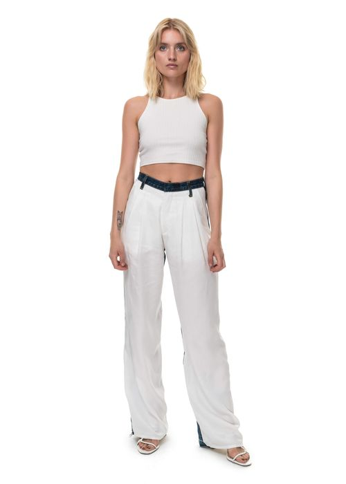 Wide Jeans With White Front Part