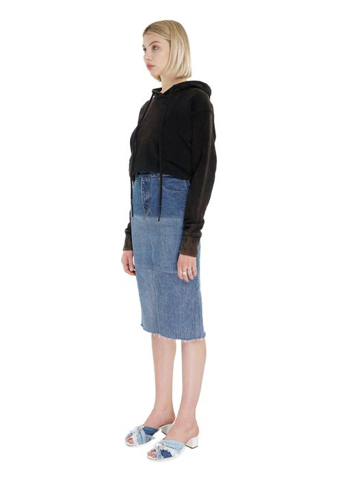 Reworked Mixed Blue Pencil Skirt