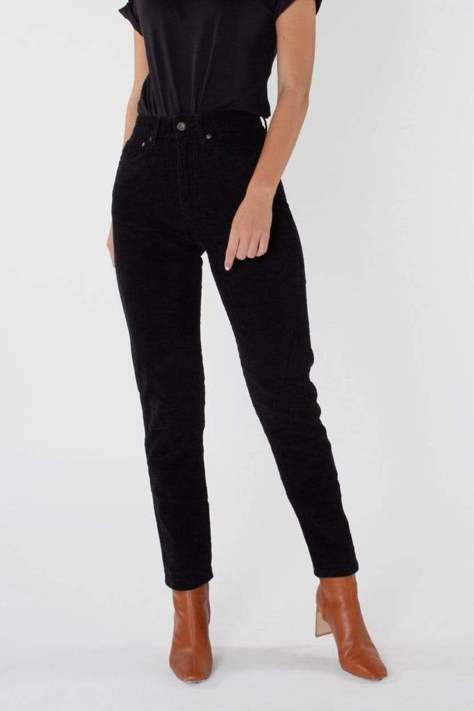 Nora Loose Tapered Corduroy Black