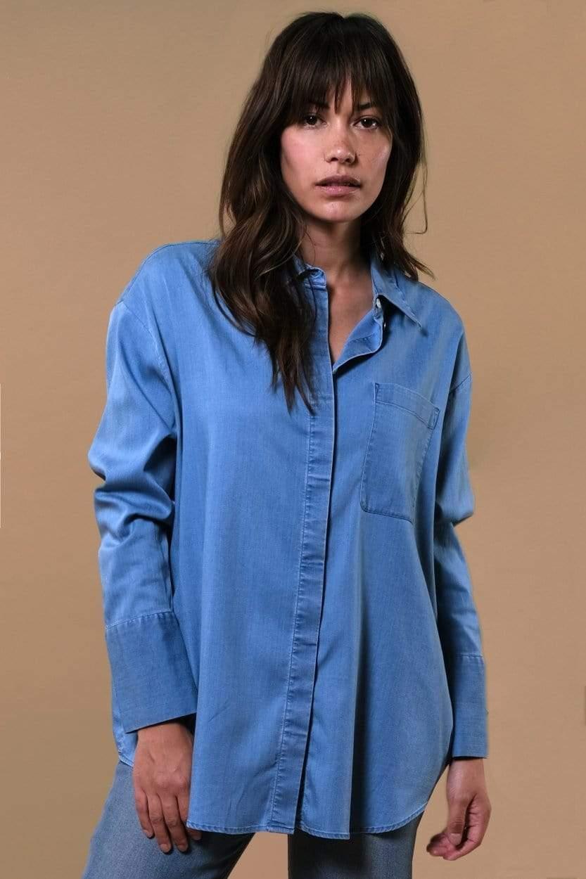 Mia Tencel Shirt Light Blue