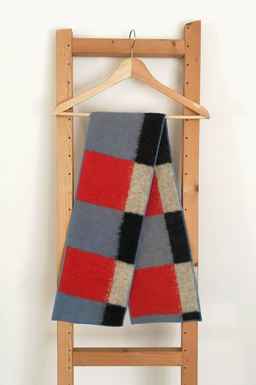 Lola Checkered Upcycled Wool Scarf
