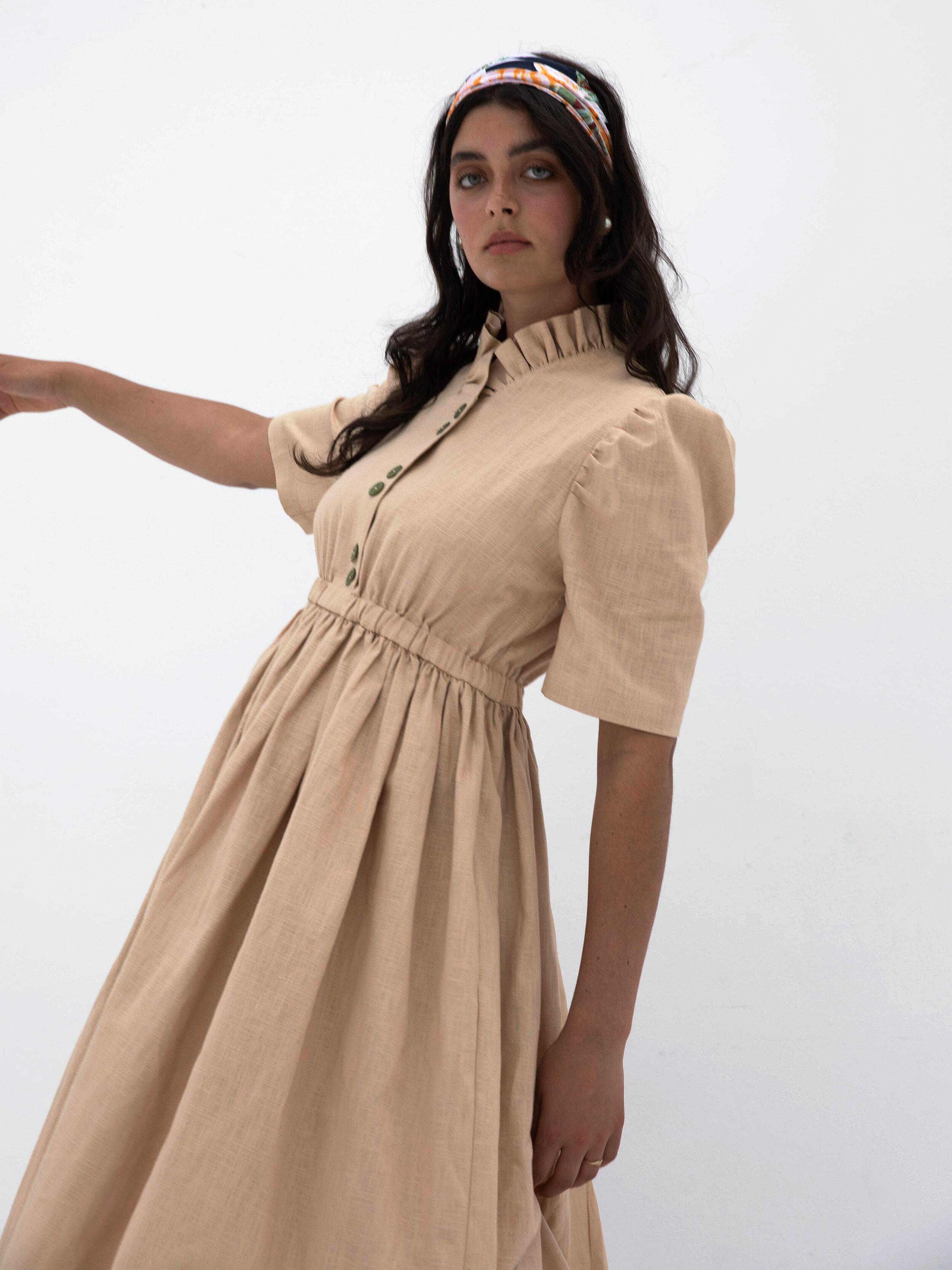 Masha With Maria Eleonora Beige Linen Dress