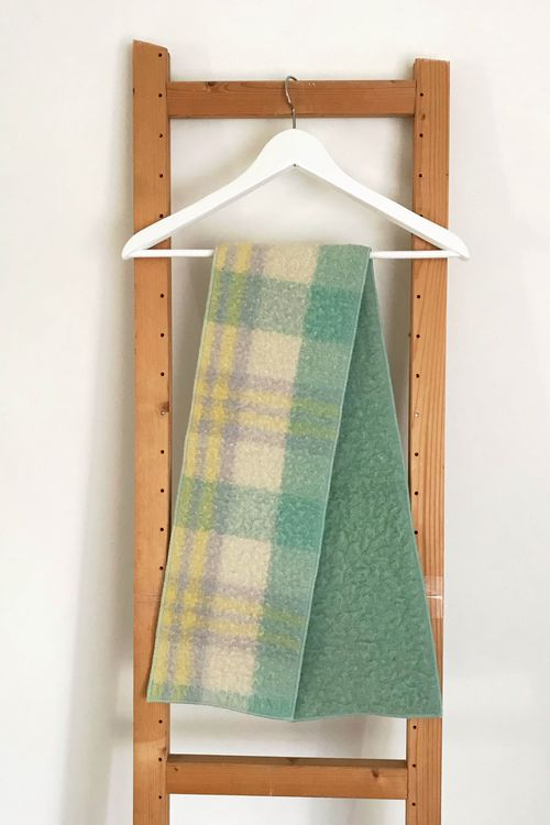 Charlotte Mint Checkered Wool Scarf