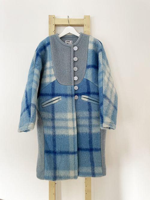 Blue Sophia Long Wool Coat