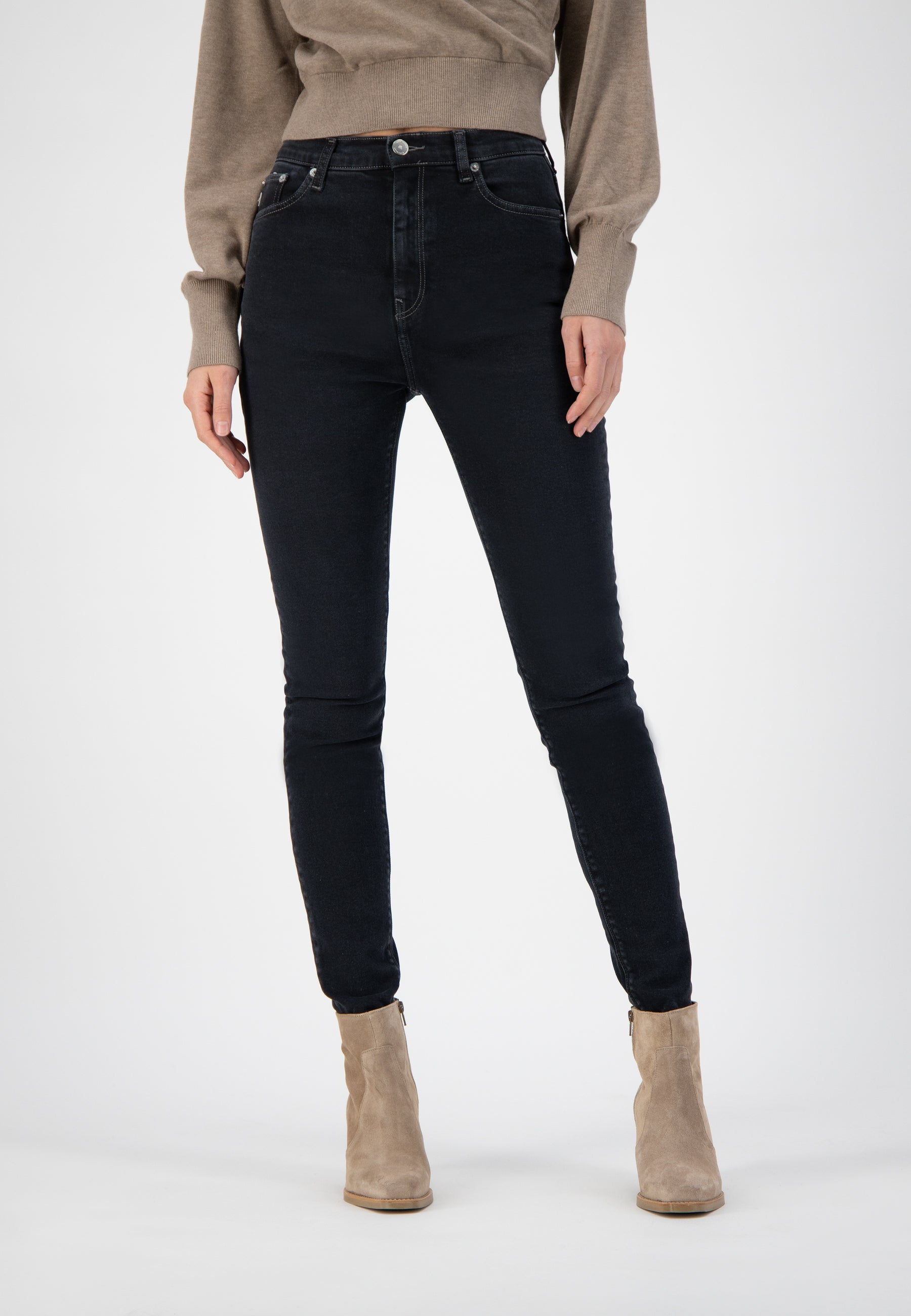 Mud Jeans Sky Rise Skinny - Stone Black