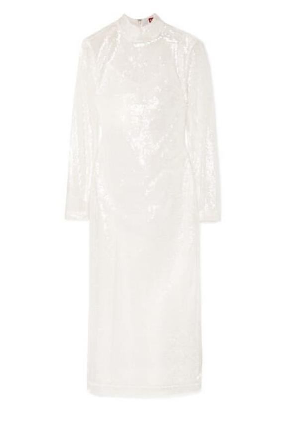 See-through white sequin dress
