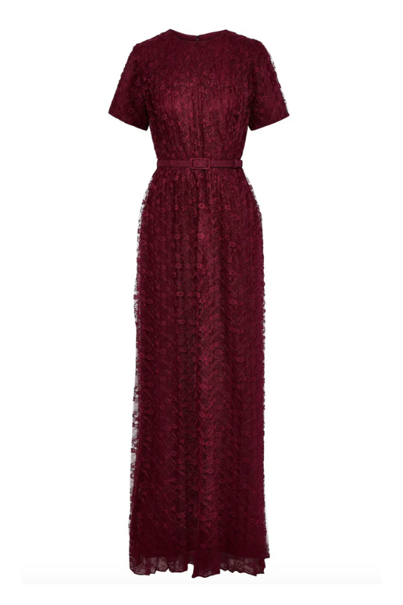 Pleated lace dress with belt