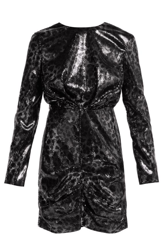 Leopard dress in black sequins
