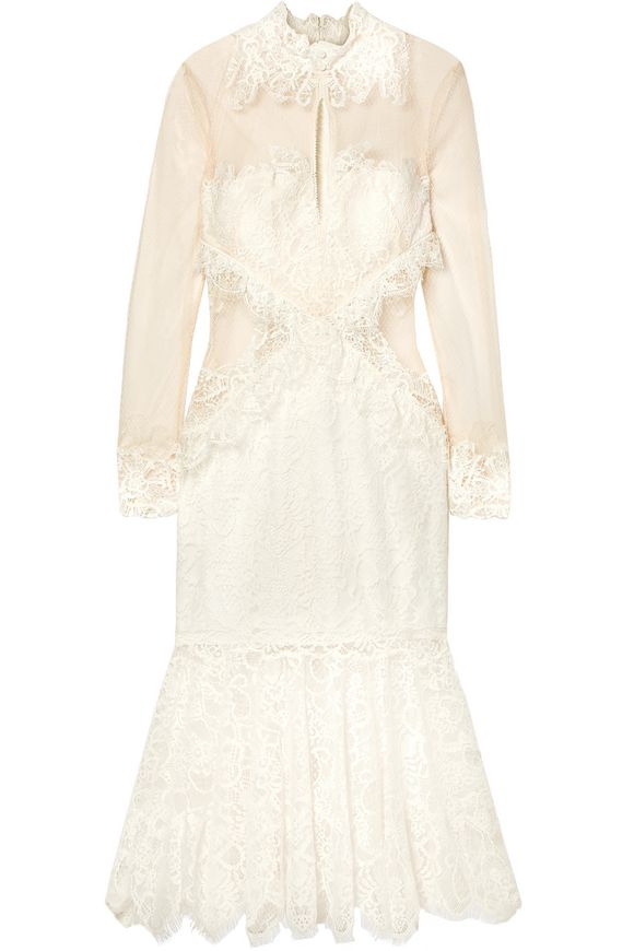 Embroidered white lace dress