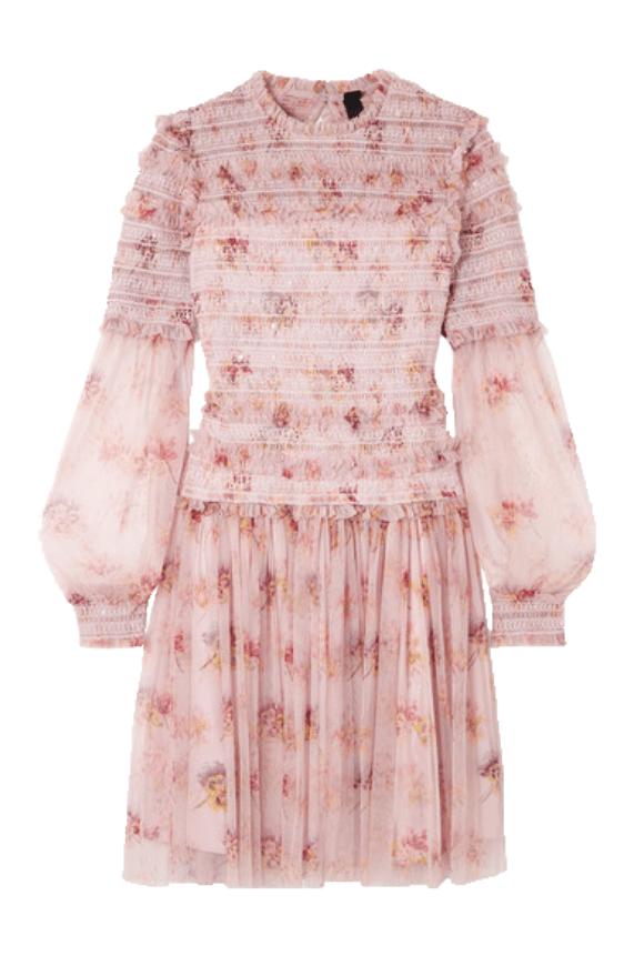 Smocked tulle mini dress