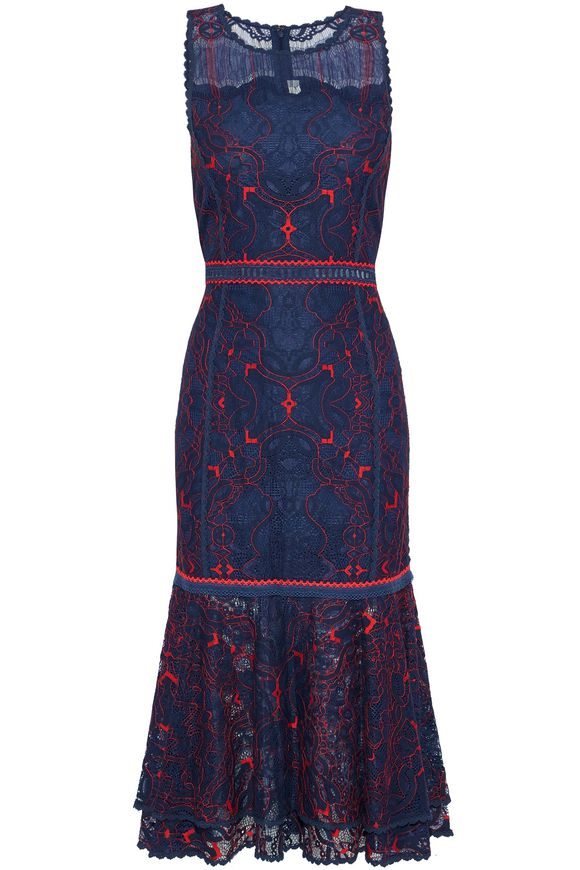 Layered embroidered lace dress