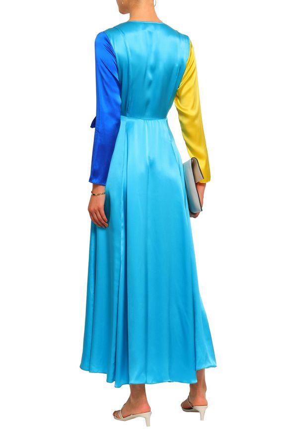 We Are Leone Color block silk satin dress