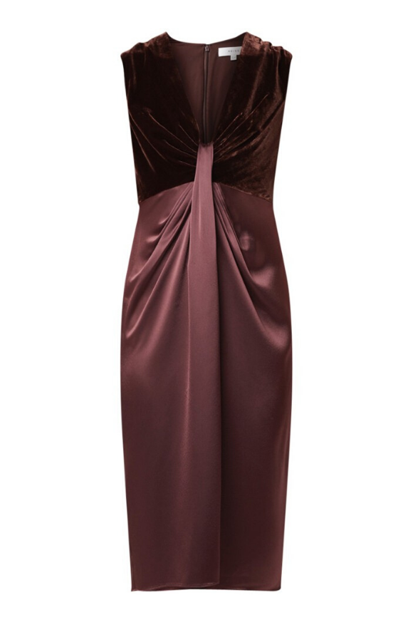 Velvet & satin cocktail dress