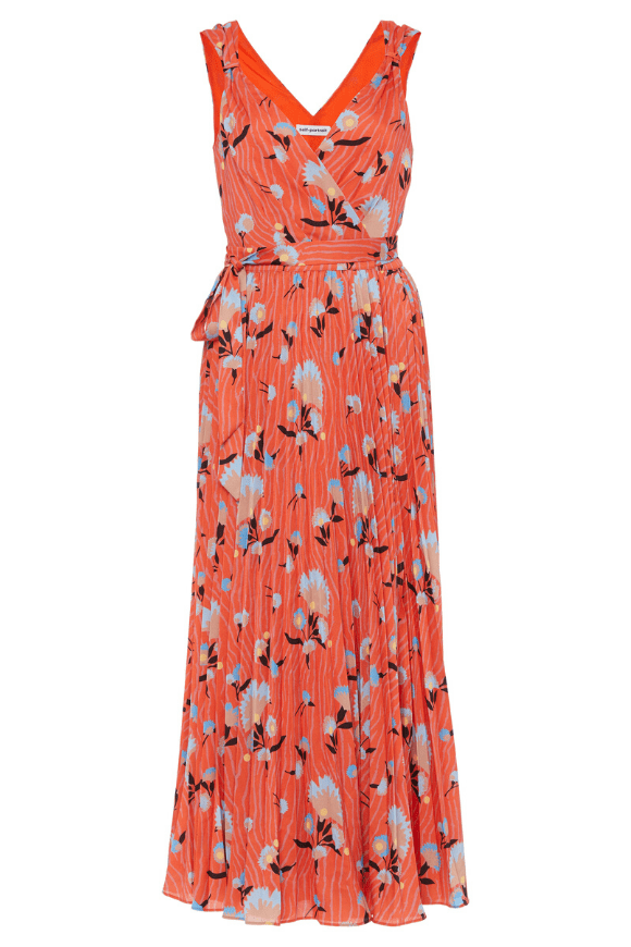 Crepe wrap dress with floral print