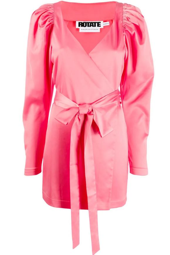 Pink wrap mini dress