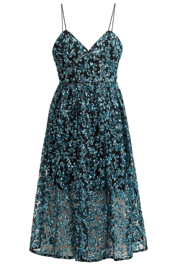 Midi dress in tulle, lace & sequins
