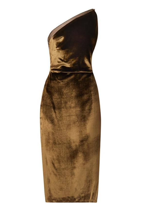Velvet dress in Khaki