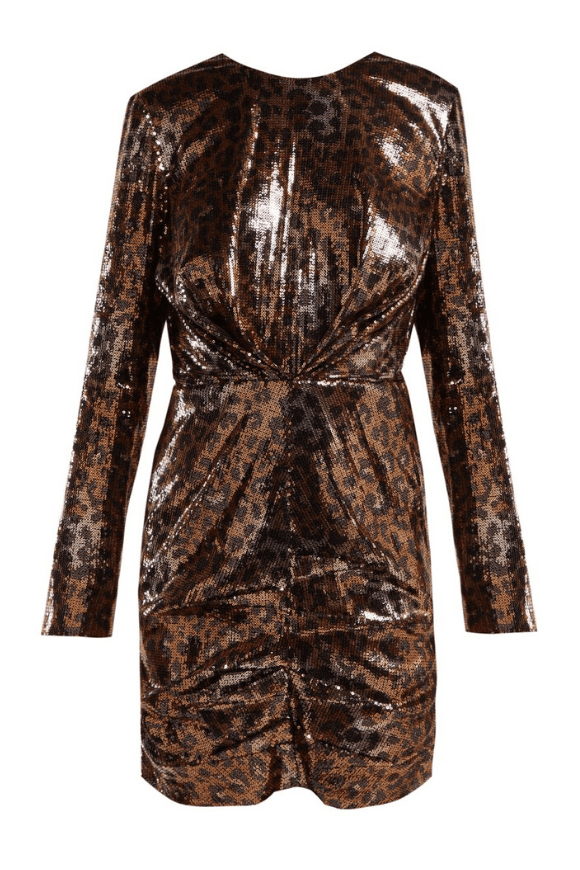 Leopard dress in bronze sequins