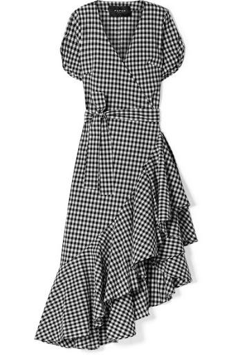 Asymmetrical gingham wrap dress