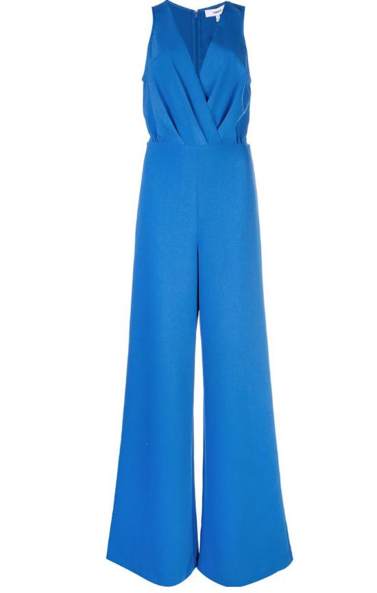 Blue jumpsuit with deep neckline