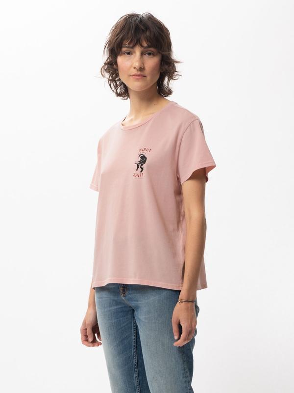 Nudie Jeans Lisa Night Shift Light Pink T-shirts X Small