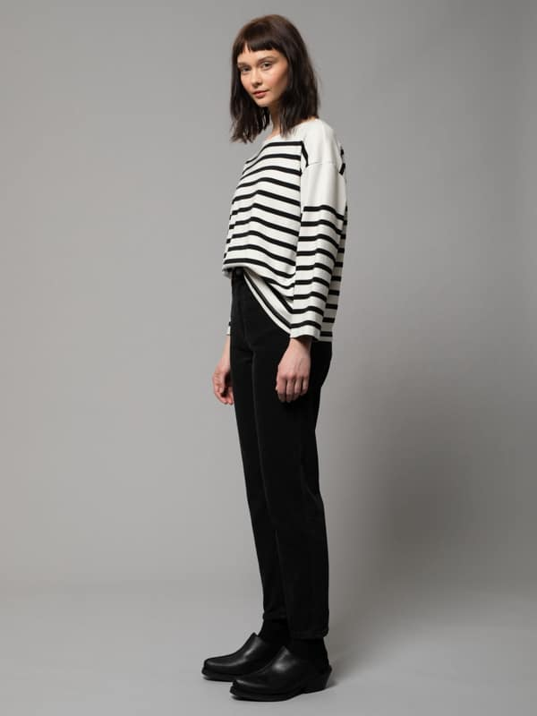 Nudie Jeans Charlotte Breton Stripe Offwhite/Black T-shirts X Small